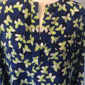 Gap butterfly Tunic dress small blue & neon green